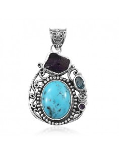 Artisan Crafted Persian Turquoise, Multi Gemstone Pendant in Sterling Silver