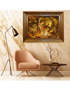 "Miniature Silk Hand-Woven Pictorial Carpet ""Seven Faces"" Wall Art"