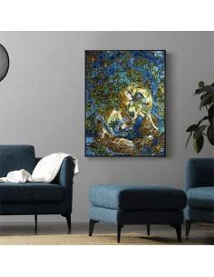 Endearment Beseech Silk Tableau Rug (Pictorial Carpet) Wall Art