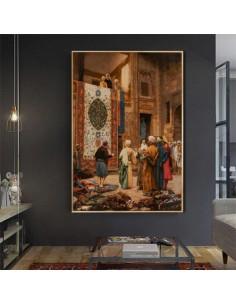 The Bazaar of Cairo Tabriz Hand-Woven Tableau Rug -  Wall Art