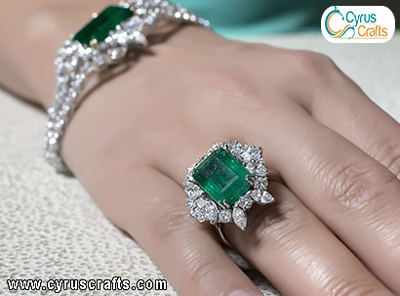 diamonds, rubies and emeralds ring and bracelet