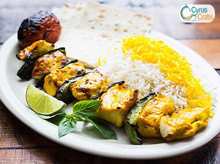 chicken barbecue and aromatic and tasty rice