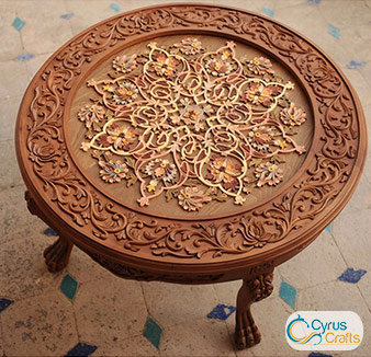 wood carving table for interior design