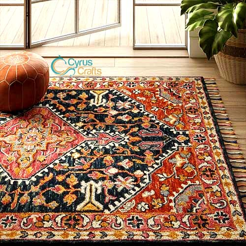 Persian area rug in home decoration